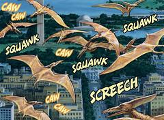 CAW CAW SQUAWK SCREECH (Tom Simpson) Tags: illustration comics painting washingtondc dc dinosaur comicbook washingtonmonument pterodactyl pterosaur 2013 earlnorem dinosaursattack