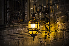 La drako kiu subtenas la lampon (Ignacio M. Jimnez) Tags: espaa stone wall night pared noche spain dragon streetlamp andalucia farol jaen andalusia piedra ubeda