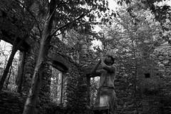 Treading on shadows. (Hazellosaur) Tags: trees blackandwhite white black castle me nature monochrome