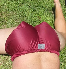 Maroon 2 (myshorts) Tags: male ass butt thighs shorts nylon bubblebutt gymshorts soccershorts nylonshorts malebuns shinyshorts footyshorts maroonshorts