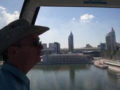 Dad, in the Teleferico (Vicki Milway) Tags: portugal lisbon parquedasnacoes