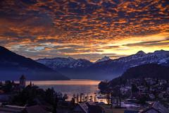 Spiez Sunrise (hapulcu) Tags: alps bern schweiz spiez suisse suiza svizzera swiss switzerland thunersee dawn lake sunrise winter