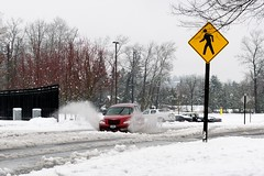 Look out pedestrians (JSB PHOTOGRAPHS) Tags: snow water look out leo stadium eugene pedestrians harris 2012 autzen prk dsc0066