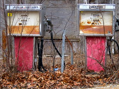 Life's a gas (kevin dooley) Tags: road wood old red 2 two brown abandoned oklahoma broken leaves rose metal canon leaf rust pumps counter country free powershot hose gas pump cc fallen rusted creativecommons roadside gasoline leaded ok broke gaspump stockphoto unleaded regular unused stockphotography rustedmetal gasolinepump s95 redpump