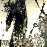 "<b>The Archer</b><br/> Keefe Baker ""The Archer"" Woodcut, 1960 LFAC #122 Fine Arts Festival Date: 12-9-64 to 12-19-64<a href=""http://farm8.static.flickr.com/7243/6899737362_3f3433acc2_o.jpg"" title=""High res"">∝</a>"