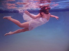 BOW #2 (lozzanges) Tags: red white reflection art water pool digital flow photography underwater dress bubbles dresses