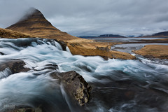 Kirkjufell and Kirkjufellsfoss (Jokull) Tags: longexposure blue orange mountain water river island photo iceland spring rocks photograph kirkjufell 1740mm snfellsnes icelandic kirkjufoss allxpressus kirkjufellsfoss traveltoiceland canoneos5dmkii plljkull lee09softgradient landscapephotograpyiceland cometoiceland