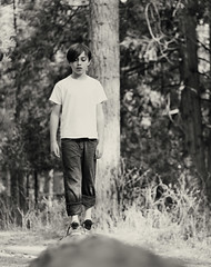 (skyekz) Tags: life boy portrait people blackandwhite white black cute male beautiful beauty face childhood youth forest person living kid woods alone child emotion image little sweet outdoor expression joy innocent young adorable jeans human innocence balance lonely caucasian