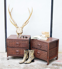 Industrial Side Tables--and Antlers (Like That One) Tags: pierced metal loft vintage cool rust singapore industrial masculine antlers aged drawers rugged patina casters livedin sidetables modernrustic likethatone