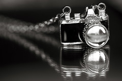 My camera necklace.... (Explored) (n0t0ny0urnellie) Tags: mono mayhem top20blackandwhite