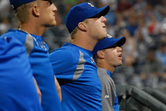Mike Montgomery, Will Smith and Everett Teaford (Minda Haas Kuhlmann) Tags: baseball willsmith pacificcoastleague milb inthedugout mikemontgomery omahastormchasers everettteaford