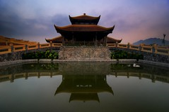 Ninh Binh Morning (DPGold Photos) Tags: morning travel reflection building water sunrise landscape hotel pagoda asia vietnam portfolio ninhbinh northvietnam