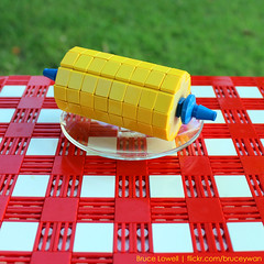 LEGO Corn (bruceywan) Tags: food table corn picnic lego bruce beverage cloth plaid photostream holder lowell moc brucelowellcom