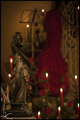 Maó+Flors 2011_13 (jandjfotografia) Tags: red roses rojo vermell rosas estatua velas rojas figura
