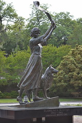 Savannah's Waving Girl statue in Morrell Park. The statue is of Florence Martus (1868-1943) who greeted all ships arriving at Savannah Sculpted by Felix de Weldon in 1974.