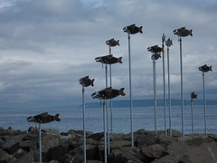 Flying Fishes (jchants) Tags: sky sculpture fish water clouds rocks pugetsound publicart edmondswa
