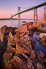 Sunrise at the Mount Hope Bridge (chris lazzery) Tags: longexposure bridge sunrise bristol rhodeisland narragansettbay canonef1740mmf4l mounthopebridge singhraygoldnbluepolarizer 5dmarkii bw30nd