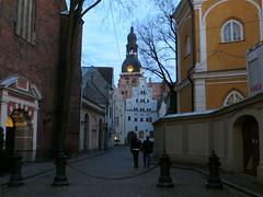 Old Town Street in Riga, Latvia. April 18, 2014 (Aris Jansons) Tags: city church architecture night buildings spring europe catholic religion baltic latvia oldtown riga lettland 2014 rga latvija baltikum lettonie capiptal