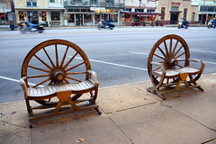 Wagon Wheel Benches HBM. (The Old Texan) Tags: street bench town nikon texas motorcycles fredericksburg wagonwheels