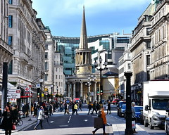 LONDON 1604271437 (Harry Halibut) Tags: street shadow people london art clock church public sunshine souls all place traffic centre images spire bbc broadcasting british regent allrightsreserved langham londonbuildings londonarchitecture imagesoflondon colourbysoftwarelaziness publicartinlondon 2016andrewpettigrew