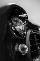 Bifocal (belleshaw) Tags: blackandwhite detail glass metal reflections classiccar bokeh chrome headlight grille blinker orangeempirerailwaymuseum antiquetruckshow