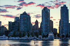 Red Skies (Clayton Perry Photoworks) Tags: canada skyline vancouver clouds buildings boats bc falsecreek hirises explorebc explorecanada