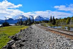 Alaska Railroad (forrest.michele) Tags: ocean railroad travel blue trees sky cloud mountain mountains tree green nature water alaska clouds train outdoors hiking hike