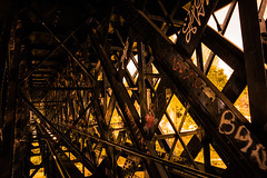 Inside (Mare Crisium) Tags: bridge urban metal night iron cross steel tag pont graff exploration nuit fer urbex urbaine acier