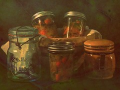 Canned (clarkcg photography) Tags: plant leaf doubleexposure spice canned peppers carrots jars canning