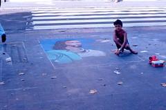 Barcellona 1984 - Artista de pavimento de la Rambla (frank28883) Tags: barcelona jesus larambla lasramblas barcellona ges madonnaro