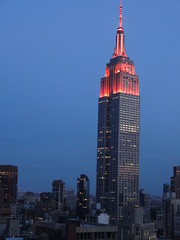 New York. The Empire State lights at dusk from wedding reception venue. (denisbin) Tags: wedding building e empirestatebuilding empirestate