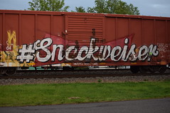 #SNACKWEISER (TheGraffitiHunters) Tags: street red white black art car yellow train graffiti colorful paint box tracks spray snack boxcar bud budweiser freight 6704 benched benching snackweiser eec6704