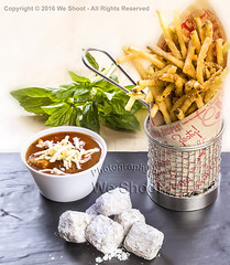 Spaghetti Fries With Soup And Bomboli (weeviltwin) Tags: menu item items food italian restaurant spaghetti french fries bomboli doughnuts soup basket cup bowl