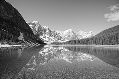 Moraine Lake (ryan.kole32) Tags: travel trees blackandwhite canada reflection monochrome forest rockies outdoors nationalpark hiking sony alberta banff rockymountains mirrorimage moraine banffnationalpark morainelake canadianrockies banffalberta sonya77
