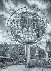 Globe at Columbus Circle Reding underneath (Singing With Light) Tags: 2016 2nd alpha6000 central columbuscircle milford mirrorless morningstroll ny nyc nycfog singingwithlight sonya6000 july photography singingwithlightphotography sony