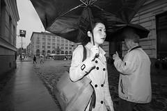 Umbrella series (HKI DRFTR) Tags: blackandwhite girl monochrome rain umbrella finland helsinki europe candid streetphotography series walkingby streetportraiture personalproject
