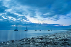 Blue Sky Over The Sea (Kimberley Hoyles) Tags: morning blue sea sky reflection water beautiful night clouds boats boat pretty moody mud beaty stunning bluehour puddles nikond3200 movingclouds oarefaversham