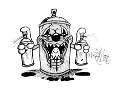 graffiti sticker spray can clown (marcomacedo3) Tags: cholowiz graffiti sticker nazer26 mtsk paste stamp slaps collabs spraycan trade