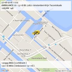 AMBULANCE: A1 13116 Rit 72621 Amsterdam Krijn Taconiskade 1087HW 148~ (11:02) (IJburg112) Tags: amsterdam 112 p2000 ijburg112