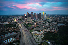 Dallas, TX at sunset /// June 25, 2016 (michael spear hawkins) Tags: sunset urban dallas cityscape texas tx sony a7 214 downtowndallas highway75 daytimelongexposure voigtlander35mmf12 longeposure dtx 10stopndfilter bigstopper sonya7 sonymirrorless