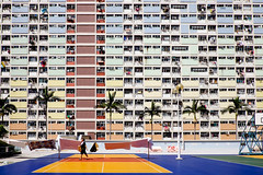 DSCF2329 Normal summer and normal people with the normal angle (Scofield Chan) Tags: life street building architecture hongkong rainbow snapshot vivid ground s velvia fujifilm streetphoto fujinon 18mm publichousing hongkongculture streetsnap choihungestate fujinon1855mm