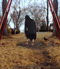 The Past (GillyFace) Tags: park black bird girl grass playground dark hair pigeon swing forgotten memory teleidoscope
