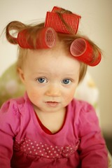Having a baby hair day (Ptur Gunn Photograpphy) Tags: pink blue portrait baby eye beautiful beauty face make look barn hair children fun happy photo iceland eyes infant funny shoot day child sad photoshoot expression over bad 9 childrens roll makeover months unhappy month facial sland adda icelandic kristn ptursdttir slendingur slenskt