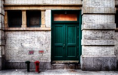 What's Behind The Green Door? (mgarbowski) Tags: hdr bigcity d700 procontrast filmeffectsvelvia nikkorpce24mmprime markgarbowskiphotography tmg2012