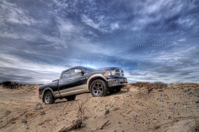 ocean road blue sky ny newyork beach water clouds canon photography sand rocks offroad 4x4 dramatic off longisland atlantic dodge hemi ram 1500 hdr worldcars