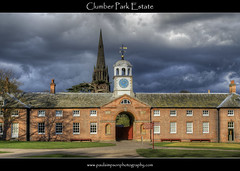 Stable Yard, Clumber Park Estate (Paul Simpson Photography) Tags: uk trees england clock church grass clouds steeple spire nationaltrust hdr nottinghamshire clumberpark churchofstmarythevirgin photosof