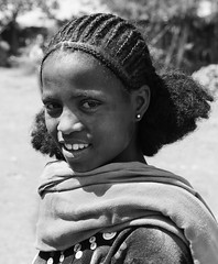 Young girl amhara N&B. Ethiopia (courregesg) Tags: africa bw woman girl femme traditional jewelry nb ethiopia tribe ethnic fille adornment afrique ethnology tribu afar amhara