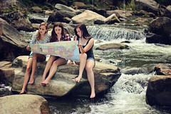 Exploration (AmyJanelle) Tags: travel girls 3 texture rock vintage river lost three waterfall scenery rocks stream northcarolina carolina exploration vintagetexture
