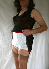 removing my dress (alison_cd5) Tags: crossdress nylons allinone garters girdle playtex 18hour openbottom