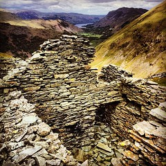 Abandoned (simonlowephoto) Tags: lake abandoned water walking square mine view brothers hiking lakes wainwright cumbria fells squareformat disused slate moor fell patterdale iphone ullswater cumbrian caudale iphoneography instagram instagramapp uploaded:by=instagram